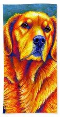 Colorful Golden Retriever Dog Beach Towel