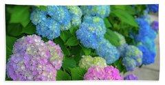 Colorful Hydrangeas Beach Sheet