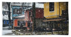 Beach Towel featuring the photograph Colorful Koprivshtica Houses In Winter by Milan Ljubisavljevic