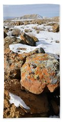 Colorful Lichen Covered Boulders In Book Cliffs Beach Towel