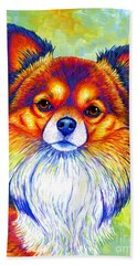Colorful Long Haired Chihuahua Dog Beach Towel