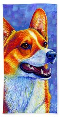 Colorful Pembroke Welsh Corgi Dog Beach Sheet