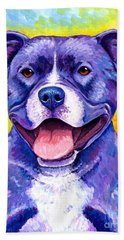 Colorful Pitbull Terrier Dog Beach Towel