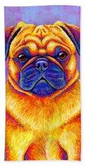 Colorful Rainbow Pug Dog Portrait Beach Towel
