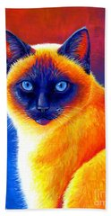Colorful Siamese Cat Beach Towel
