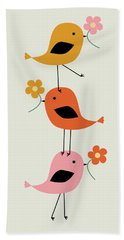Colorful Stacked Birds With Flowers Beach Towel
