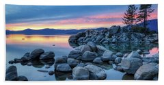 Colorful Sunset At Sand Harbor Beach Towel