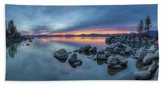 Colorful Sunset At Sand Harbor Panorama Beach Towel