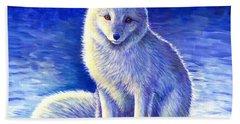 Colorful Winter Arctic Fox Beach Towel