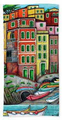 Colours Of Riomaggiore Cinque Terre Beach Towel