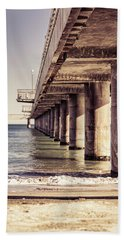 Beach Towel featuring the photograph Columns Of Pier In Burgas by Milan Ljubisavljevic