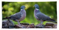 Common Wood Pigeons Meeting At The Waterhole Beach Towel