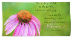 Coneflower Gratitude Art Beach Sheet