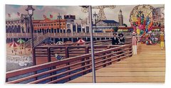 Coney Island Boardwalk Pillow Mural #1 Beach Towel