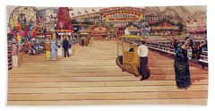 Coney Island Boardwalk Pillow Mural #2 Beach Towel