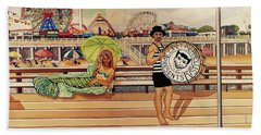 Coney Island Boardwalk Pillow Mural #4 Beach Towel