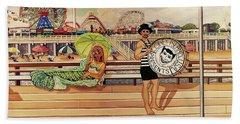 Coney Island Boardwalk Pillow Mural #4 Beach Sheet