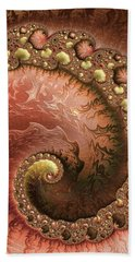 Beach Towel featuring the digital art Contemporary Fractal Spiral Copper Gold Sienna by Matthias Hauser