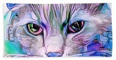 Cool Blue Cat Beach Towel