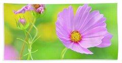 Cosmos Flower In Full Bloom, Bud Beach Sheet