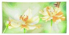 Cosmos Flowers, Bud, Butterfly, Digital Painting Beach Sheet