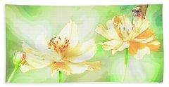 Cosmos Flowers, Bud, Butterfly, Digital Painting Beach Towel