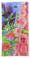 Cottage Garden Hollyhock Bees Blue Skie Beach Towel
