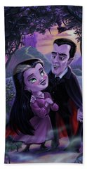 Count And Countess Dracula During Halloween Evening Beach Towel