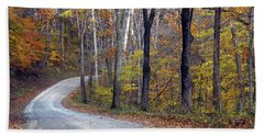 Beach Towel featuring the photograph Country Road On Fall Day by Mike Murdock