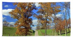 Beach Sheet featuring the photograph Country Road Through Fall Trees by Angela Murdock