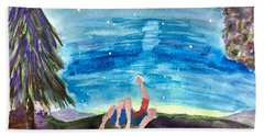 Couple Star Gazing Beach Towel