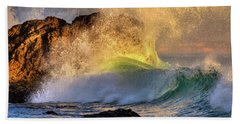 Beach Towel featuring the photograph Crashing Wave Leo Carrillo Beach by John Rodrigues