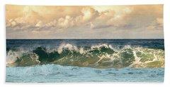 Crashing Waves And Cloudy Sky Beach Towel