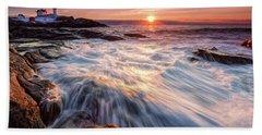 Crashing Waves At Sunrise, Nubble Light.  Beach Towel