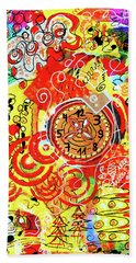Beach Towel featuring the mixed media Crazy Time by Mimulux patricia No