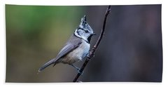 Crested Tit On A Twig Beach Towel