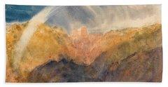 Crichton Castle, Mountainous Landscape With A Rainbow - Digital Remastered Edition Beach Towel