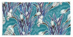 Crocuses Pattern, Turquoise And White Beach Towel