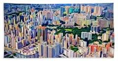 Crowded Hong Kong Abstract Beach Towel