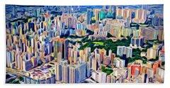 Crowded Hong Kong Abstract Beach Sheet