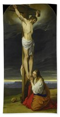 Crucifixion With Mary Magdalene Kneeling And Weeping Beach Towel