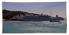 Beach Towel featuring the photograph Cruise Ships by Tony Murtagh