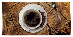 Cup Of Coffe On Wood Beach Towel