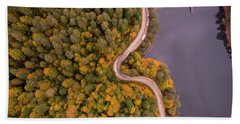 Curved Road At Lakeside Beach Towel