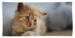 Cute Orange Kitty Beach Towel