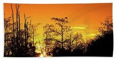 Cypress Swamp Sunset 3 Beach Sheet