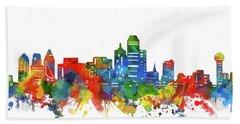 Dallas City Skyline Watercolor Beach Towel