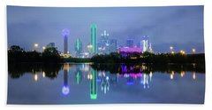 Beach Towel featuring the photograph Dallas Cityscape Reflection by Robert Bellomy
