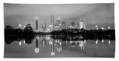 Dallas Cityscape Reflections Black And White Beach Towel