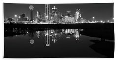 Dallas Texas Cityscape Reflection Beach Towel